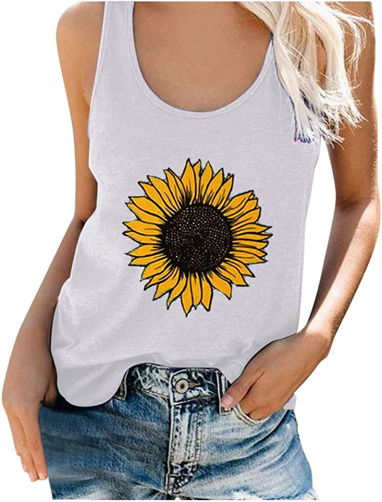 Tank Tops for Women,Womens Crop Top Sunflower Printed Shirts Sleeveless Workout Blouse Loose Soft Comfortable Tee