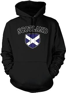 Amdesco Men`s Scotland Flag Shield, Scots Scottish Pride Hooded Sweatshirt