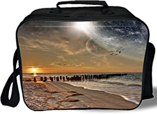Space 3D Print Insulated Lunch Bag,Magical Solar Eclipse on Beach Ocean with Horizon Sun Moon Globe Gulls Flying View,for Work/School/Picnic,Cream Orange