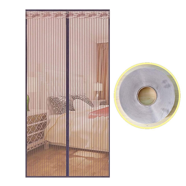 枠適切にデンマーク夏 網戸カーテン, 蚊帳 マジックテープ付き 玄関網戸 マグネット付き簡単網戸 自動で閉-170×240センチメートル(67×94インチ)-A