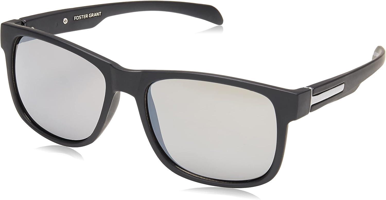 Foster Grant Men's Ramble Sunglasses Rectangular, Black/Smoke, 52 mm
