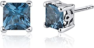 London Blue Topaz Princess Stud Earrings Sterling Silver 2.50 Carats