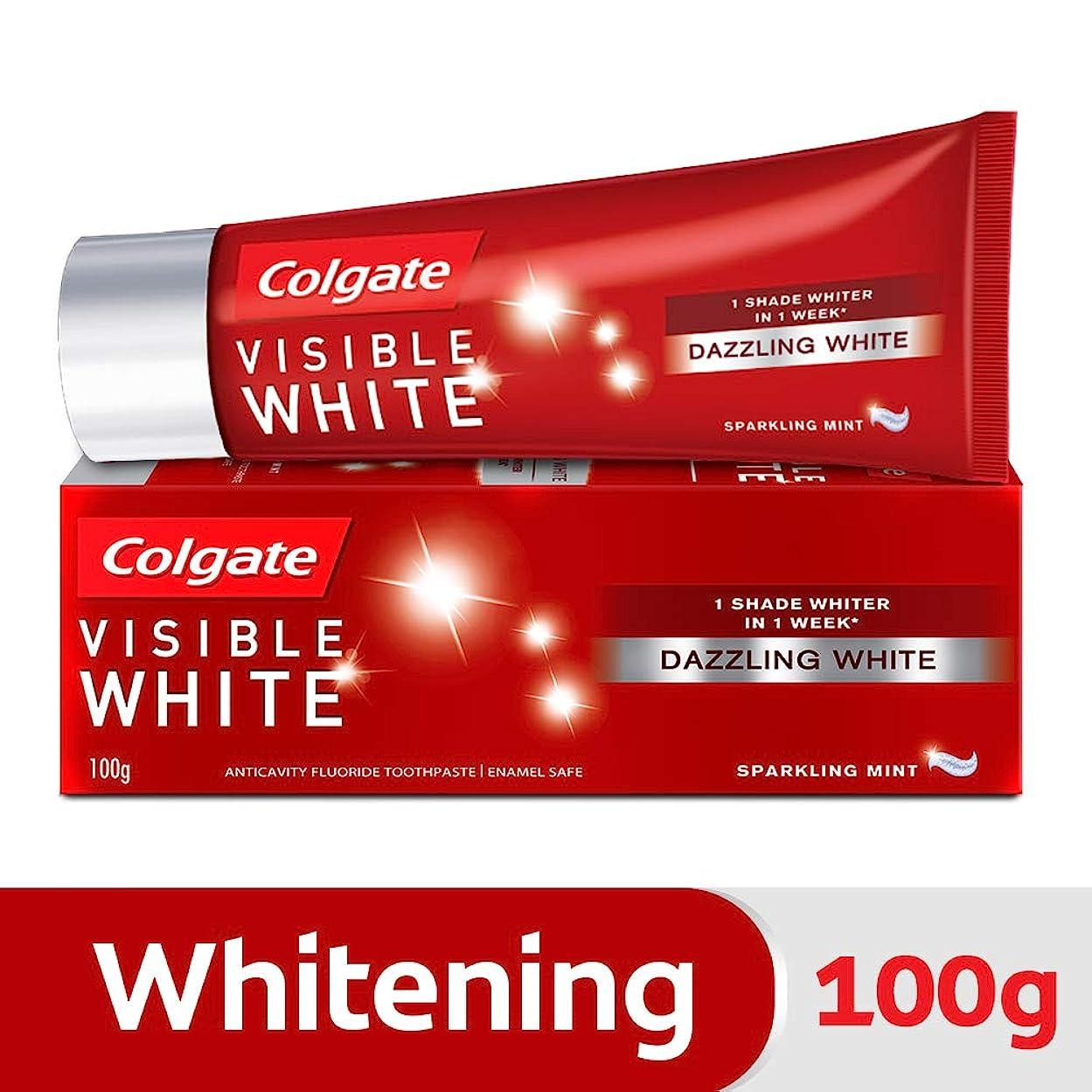 単調な飛び込む置くためにパックColgate Visible White Dazzling White Toothpaste, Sparkling Mint - 100gm