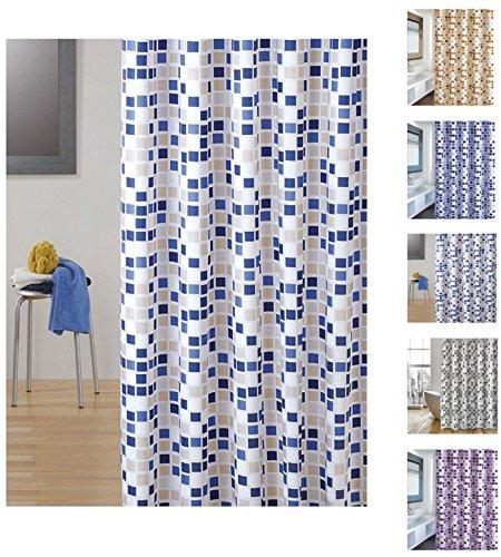 """MSV Cotexsa by 142100 Premium Anti-Schimmel Textil Duschvorhang - Anti-Bakteriell mit 12 Duschvorhangringen - Polyester, """"Mosaik"""" Blau/Beige 180x200cm – Made in Spain"""