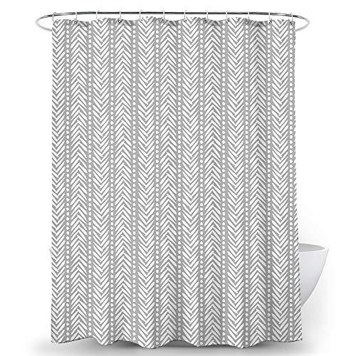 Alumuk Duschvorhang Bedruckt, Anti-Schimmel, Wasserdichter, Waschbar Anti-Bakteriell Stoff Polyester Badewanne Vorhang mit 12 Duschvorhängeringen, 165x200cm, Feder