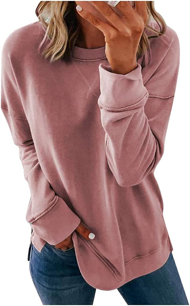 Womens Long Sleeve Tops,Women's Casual Color Block Printed Crewneck Blouse Striped Loose Pullover Sweatshirt Tops Pink