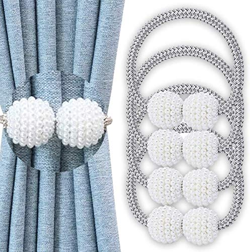 4 Pack Magnetic Curtain Tiebacks Convenient Drape Tie Backs Weave Holder for Window Draperies Hold Curtains Drape Ties Backs 16 inch Holdback (Silver Gray)