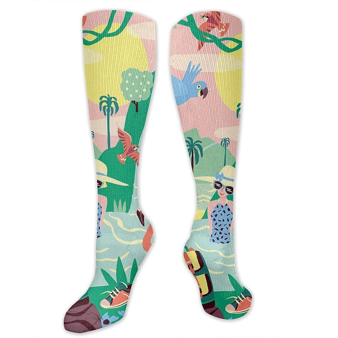 グローブアトラス協定Qrriy男性女性の女の子は、フラミンゴ3 D圧縮靴下(20?30 mmHg)を取っている