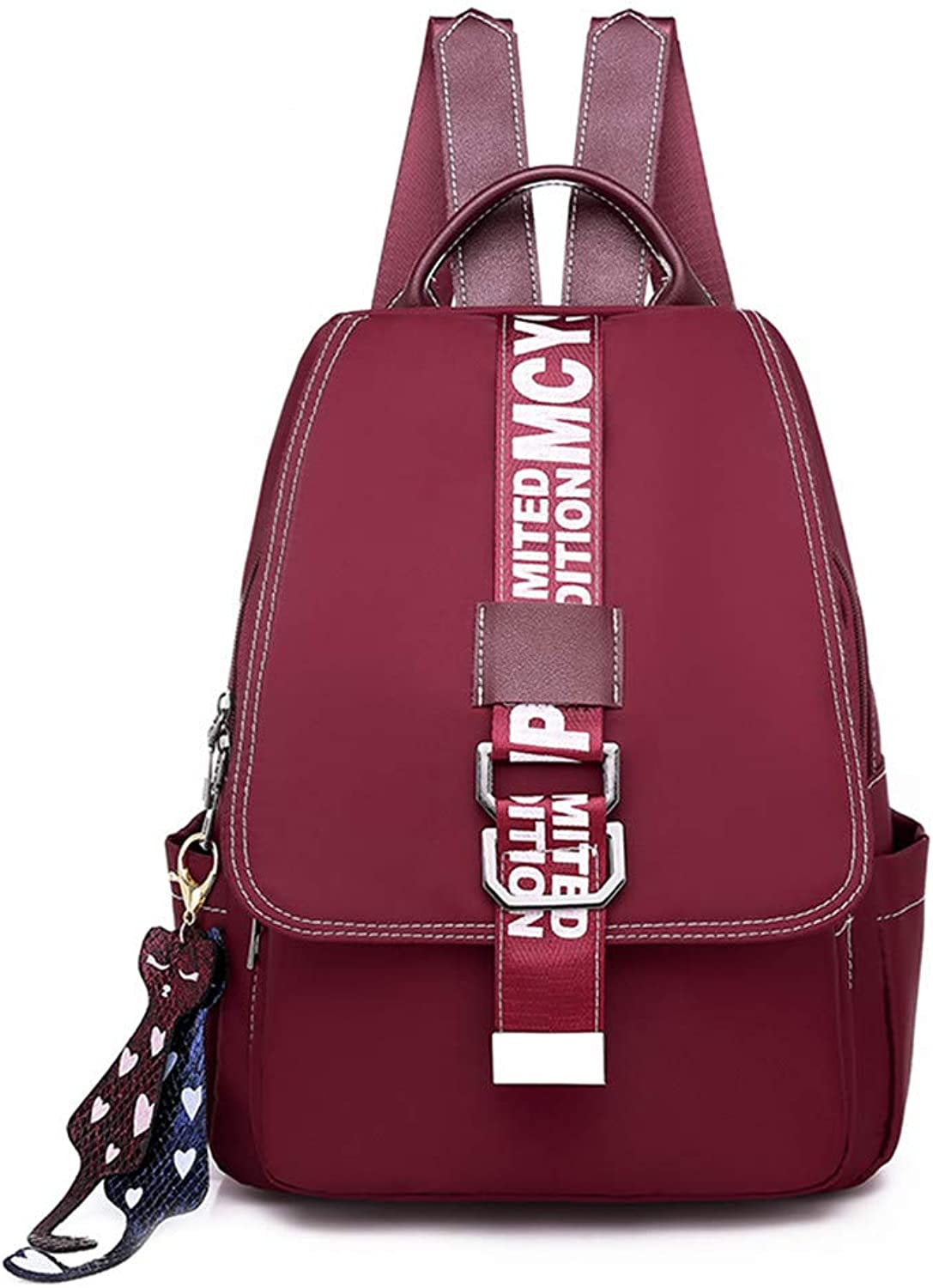 Oxford Canvas Backpack Nylon Student Bag Ladies Backpack, red Casual Practical Simple