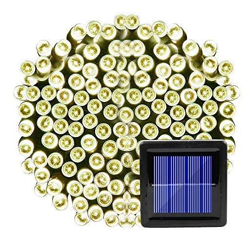 Guirnalda de luces solares para uso al aire libre, resistente al agua, 200 luces LED para Navidad, para decoración del hogar, jardín, patio, porche, árboles o fiestas, Amarillo, 20 LED