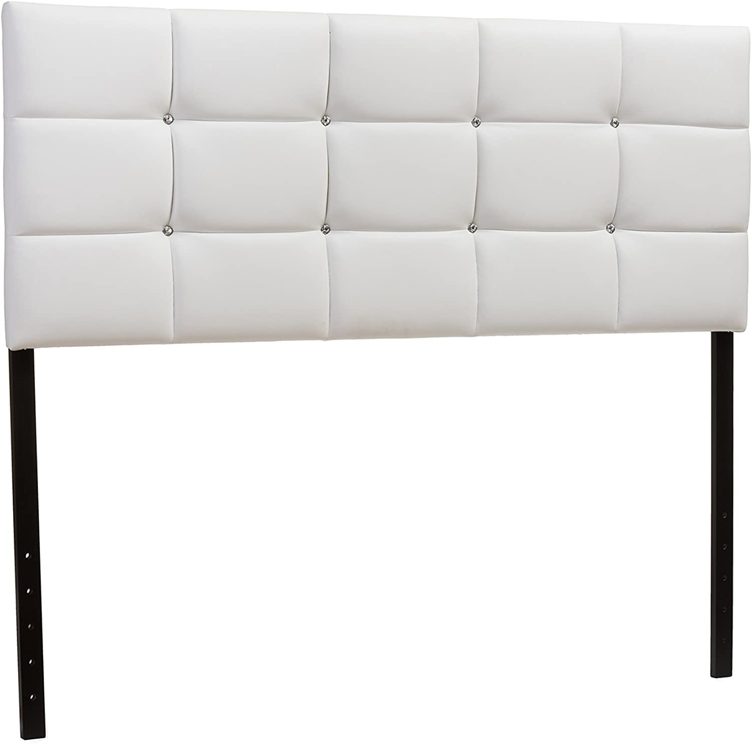 Baxton Studio Bordeaux Faux Leather Upholstered Button Tufted Column Headboard, Queen, White