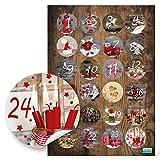 Calendrier de l'Avent 24chiffres pour travaux manuels?; autocollant Calendrier de l'Avent chiffres, 4cm pour bricoler et décorer, qualité 1A