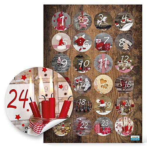 Logbuch-Verlag 24 autocollants chiffres 1 à 24 pour bricoler un Calendrier de l'Avent 4 cm - cadeau de Noël