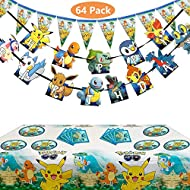 Koarti Set of 65 Pcs Pokemons Birthday Party Supplies for Kids and Boys Pikachu Party Favor Includes Birthday Cake Decorations Plates Table Cloth