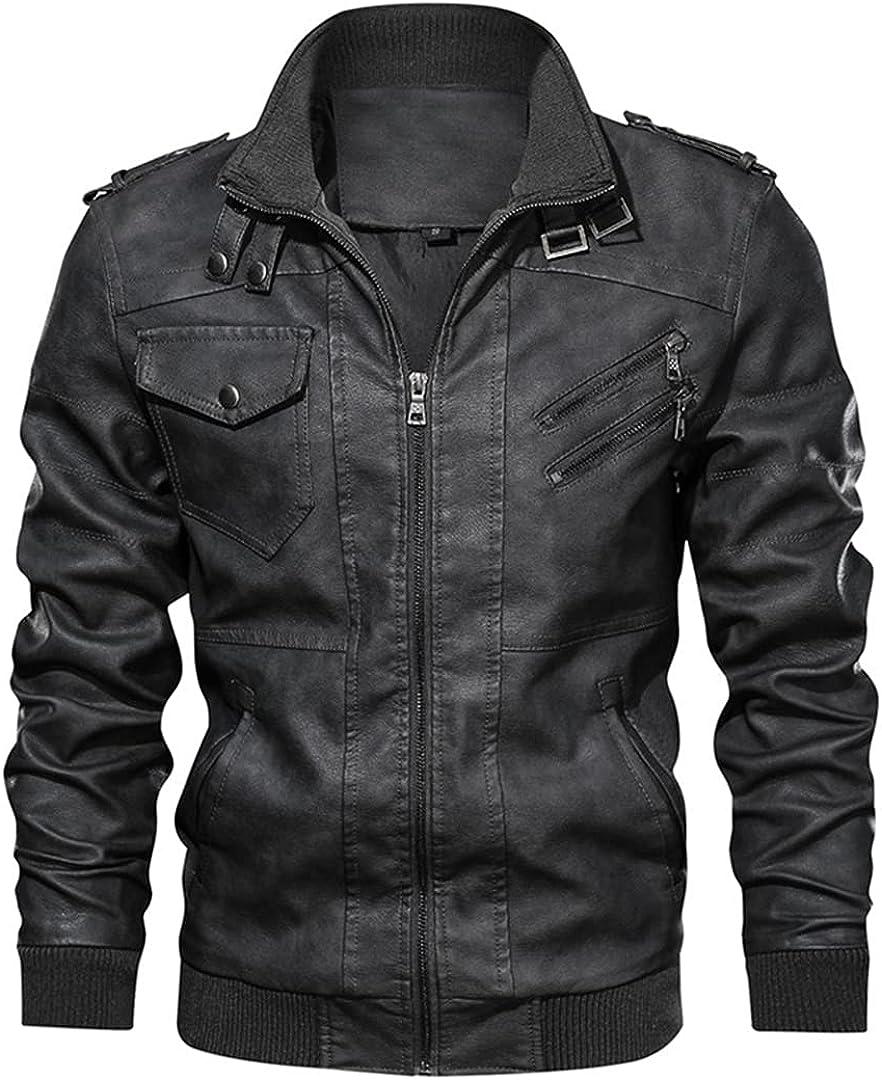 Men's Leather Jackets Autumn Casual Motorcycle PU Jacket Biker Leather Coats