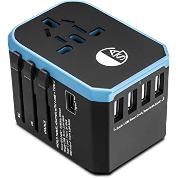 AGS All in One Universal Travel Charger Power Adapter 8 holes socket AC Plug Adaptor with Four 2.4A USB and One 3.0A Type-C For USA EU UK AUS ASIA Cell Phone Laptop and other devices