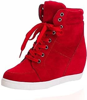 Women Ladies Girls Ankle Boots with Heels,Canvas Hidden Wedge Waterproof Wide Width Comfortable Booties Shoes