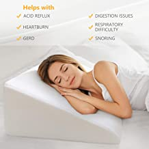 """OasisSpace Bed Wedge Pillow, 12"""" Elevated Pillow for Bed Head Wedge Pillow 1.5 Inch Memory Foam Top with Removable Washable Cover (25"""