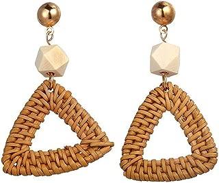 Natural Stone Woven Big Hoop Round Circle Earrings Bohemian Long Statement Earrings for Women