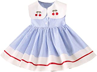 YWLINK Girls' Clothing Sweet Stripes Print Dress Sleeveless Doll Collar Cherry Embroidery Classic Party Princess Dresses
