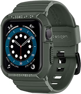 Spigen Rugged Armor PRO Designed for Apple Watch Band with Case for 44mm Series 6/SE/5/4 - Military Green
