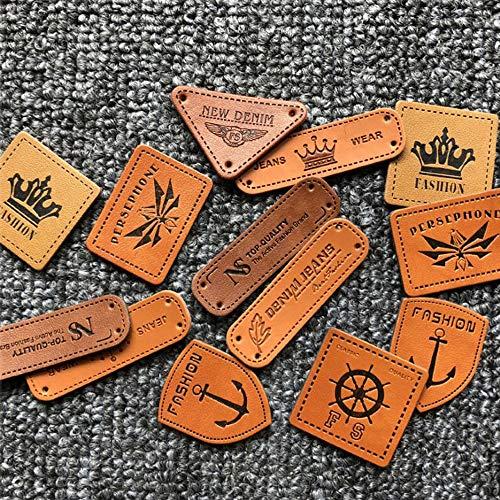 100 pcs Etiquetas de Cuero Etiquetas de PU Hechas a Mano Etiquetas de Ropa con Agujeros para Adornar Vaqueros Zapatos Sombreros Bolsos Manualidades (Estilo Mixto)