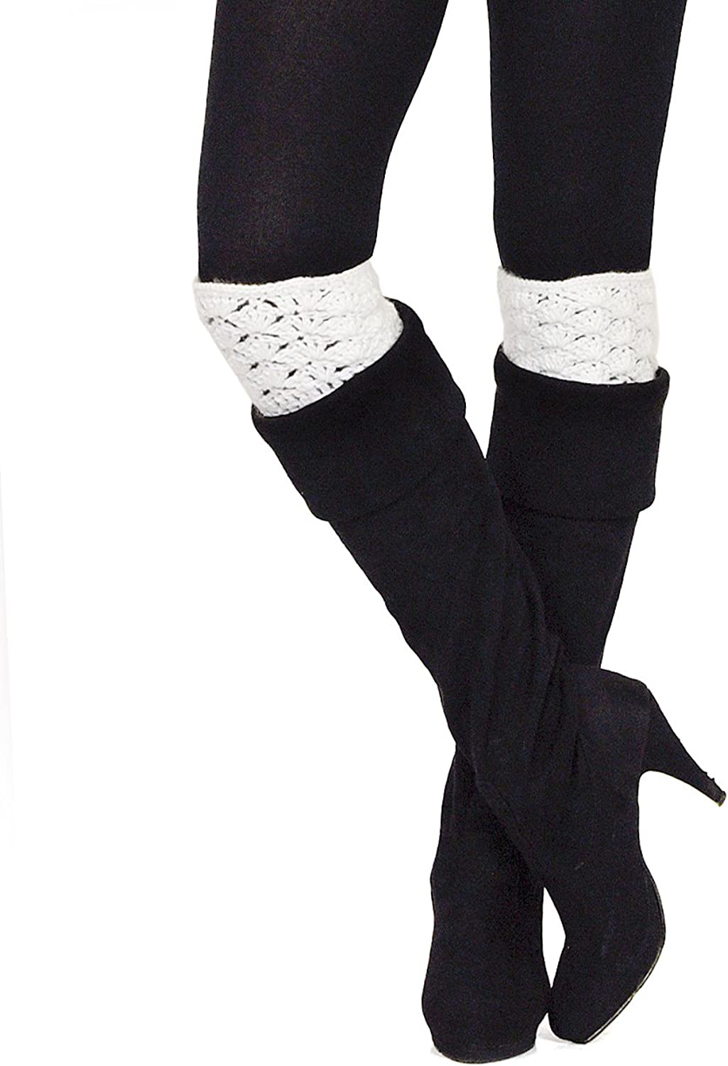 NYfashion101 Women's Fashionable Solid color Crochet Knit Soft Boot Cuff