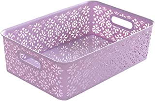 DOITOOL 1 panier en plastique avec couvercle - Motif rétro délicat - Boîte de rangement - Pour la maison, la cuisine - Gra...