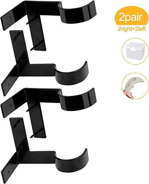 Lnlofen Single Curtain Rod Brackets 2Pair 4Pcs Curtain Rod Holders Set Tap Right Into Window Frame Curtain Rod Hang Curtain Brackets For Window Bedroom Home Decoration Black