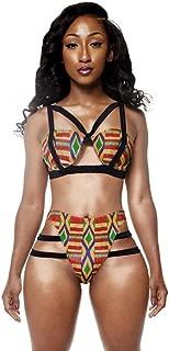 Women African Tribal Kente Printed Bathing Suit Sexy Bandage Two Piece Bikini Set Summer Beach Spa Swimwear (XL, Red)