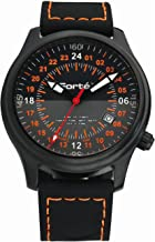 Forté Alpha Series Men's 24HR-ALPHA-24S Military Time 24-hr Air Force Wristwatch with Black Silicone Strap - 24