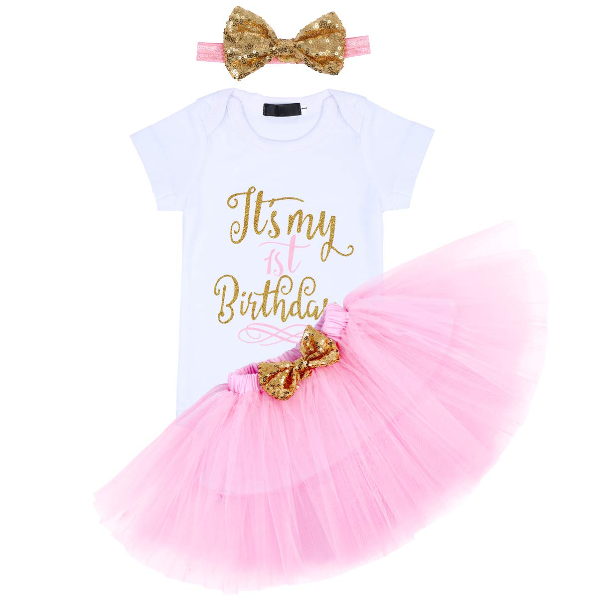 FYMNSI Baby It/'s my 1st 2nd 1//2 Birthday Party Princess Tutu Outfit Girl Half First Second Birthday Cake Smash Dress Shiny Glitter Print Short Sleeve Romper Headband 3pcs Photo Props Clothes Skirt