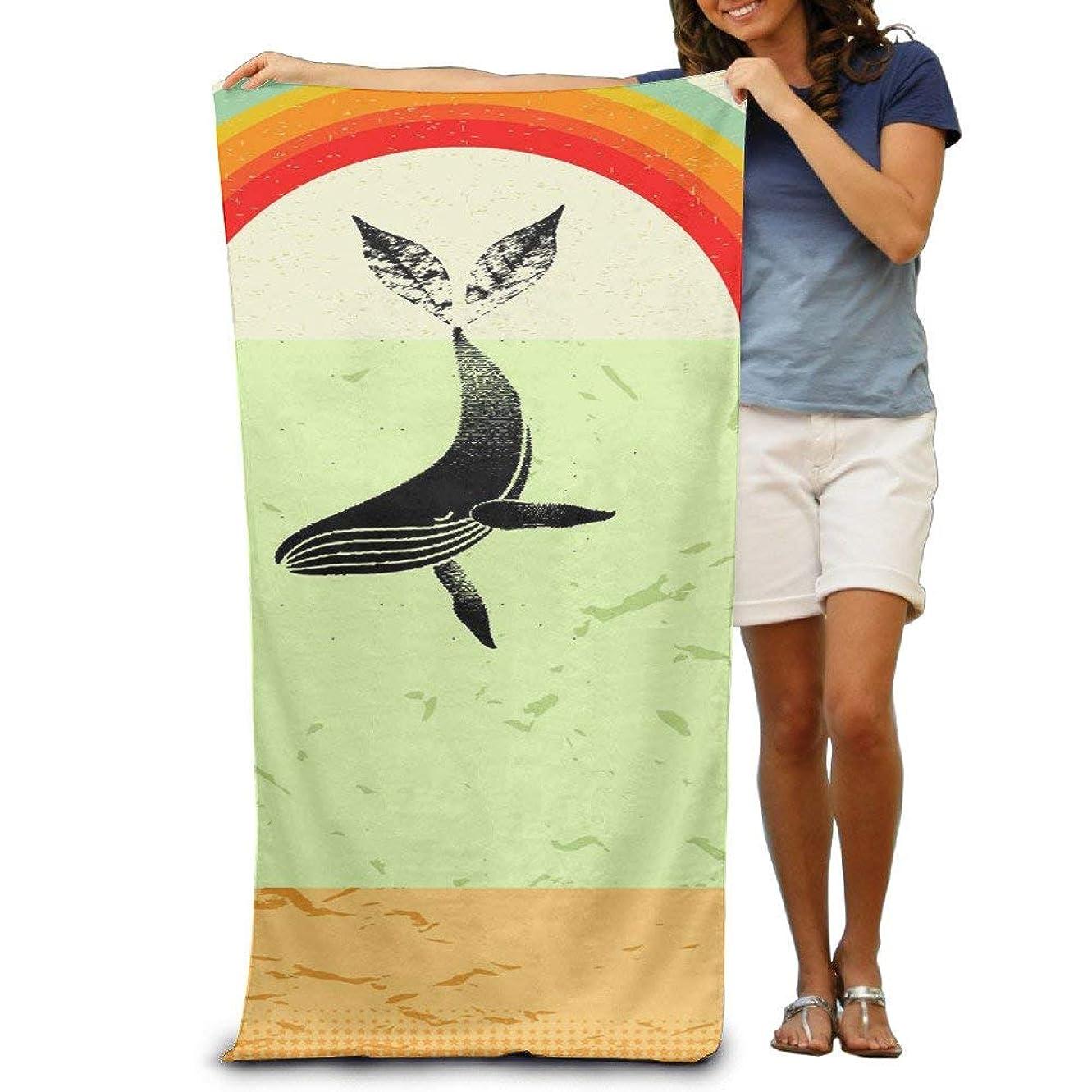 小さな従者放射する2017 の大人のクジラと虹の毛羽立ちのない31 x 51インチ用タオル