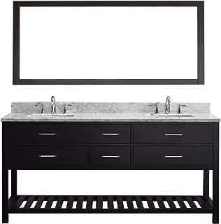Virtu USA Caroline Estate 72 inch Double Sink Bathroom Vanity Set in Espresso w/ Square Undermount Sink, Italian Carrara White Marble Countertop, No Faucet, 1 Mirror - MD-2272-WMSQ-ES-010