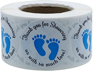 Hybsk 1.5 Inch Round Baby Shower Stickers, Thank You for Showering Us with So Much Love Blue Foot Print Total 500 Labels Per Roll (Blue Footprint)
