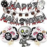 Zliger Decoración De Fiesta De Halloween Set Globos De Látex Globos De Aluminio Happy Halloween Balloons Banner Pumpkin Banner para Halloween Bar Suministros De Decoración Del Hogar