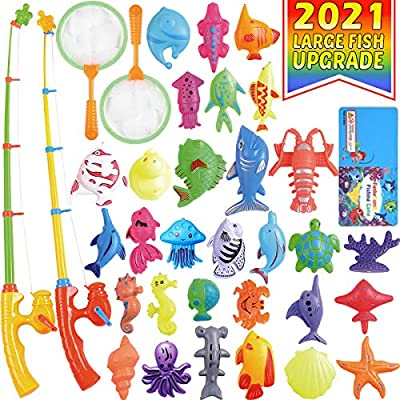 CozyBomB Magnetic Fishing Pool Toys Game for Kids - Water Table Bathtub Kiddie Party Toy with Pole Rod Net Plastic Floating Fish Toddler Color Ocean Sea Animals Age 3 4 5 6 Year Old by CozyBomB