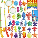 Kids Magnetic Fishing Board Game Toys Set by ECLifeHack - Bathtime Or Pool Party with Pole Rod Net Plastic Floating Fish - Toddler Education Teaching and Learning of Colors Ocean Sea Animals