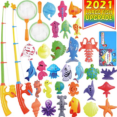 CozyBomB Magnetic Fishing Pool Toys Game for Kids - Water Table Bath-tub Kiddie Party Toy with Pole Rod Net Plastic Floating Fish Toddler Color Ocean Sea Animals Age 3 4 5 6 Year Old