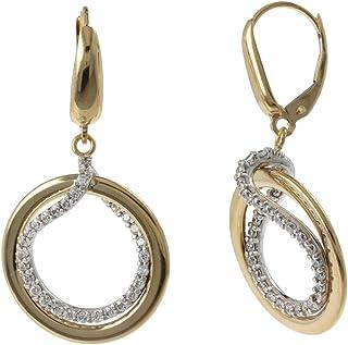 Gioiello Italiano - Orecchini a doppio cerchio in oro 14kt e zirconi, due colori, 3.8x2.0cm, da donna