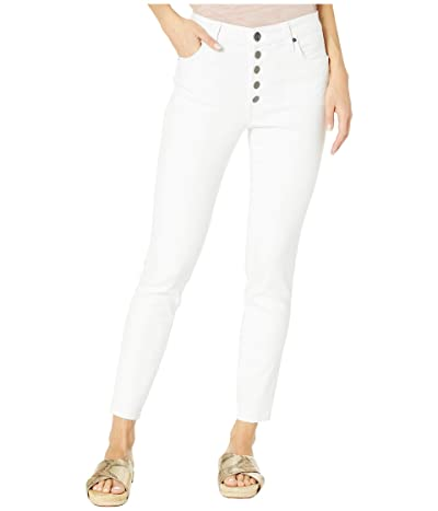 KUT from the Kloth Connie High-Rise Ankle Skinny Exposed Button Raw Hem in Optic White (Optic White) Women