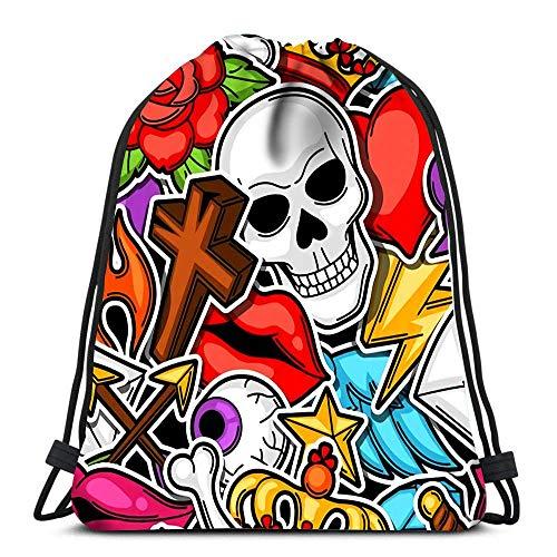 Lsjuee Backpack Drawstring Bag Retro Tattoo Symbols Cartoon Old School Women&Men Sport Gym Sack