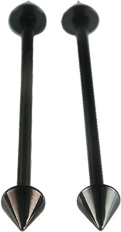 bodyjewellery 14g 14 Gauge 34mm Surgical Steel Industrial Barbells Straight Bars Ear Plugs Rings bar 5mm s Black Piercing 2Pcs ALLM