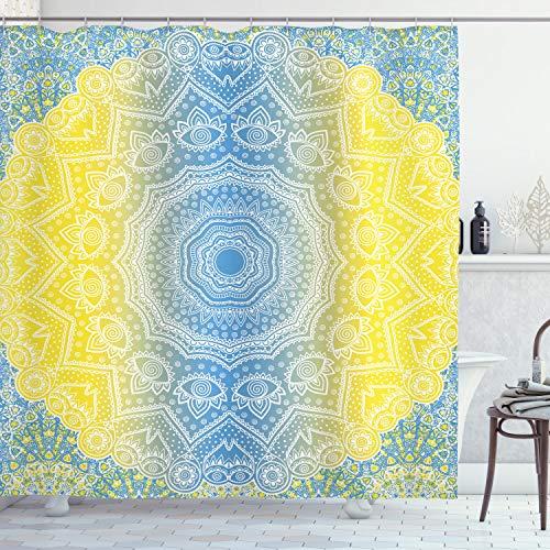 Azul y amarillo cortina de ducha por Ambesonne, Ombre Mandala diseño de tribal de chino Esoteric Mystic Universo impresión, tela Set de decoración de baño con ganchos, 75cm de largo, azul amarillo