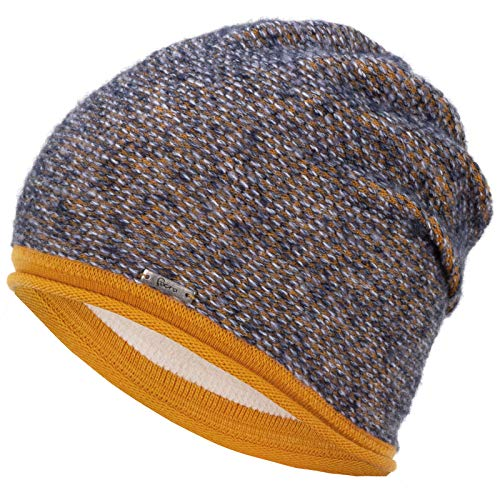 Faera Wintermütze warm gefütterte Winter-Mütze Fleece-Futter Winter Strick-Mütze Beanie-Mütze Damen Herren One-Size, Farbe:Jeansblau