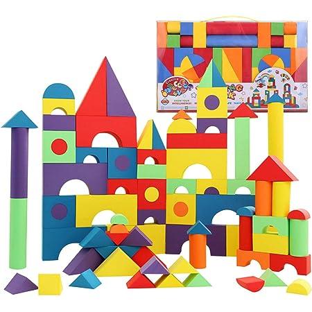 Bemixc 積み木 赤ちゃんおもちゃ 柔らかいEVA素材 知育玩具 出産お祝い (131PCS)
