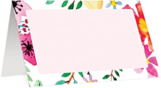 Tropical Flowers Place Cards (50 Pack) Double Sided Placecard Escort Blank Fill In Name Table Tented Folded Assigned Seating Tag Food Buffet Label Colorful Digibuddha Decor 3.5 x 2 Inches