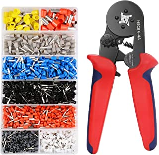 Mengshen Ferrule Crimping Tool Set - Ferrule Crimper Plier w/ 1200pcs Wire Terminals Ends, AWG 23-7, 0.25-10mm²