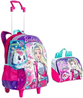 f56183817 Mochila Infantil Barbie Aventura Nas Estrelas Prata C/Alças Rodinhas Tam G  Sestini + Lancheira
