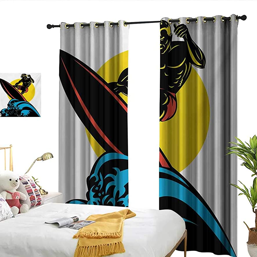 WinfreyDecor Ride The Wave Thermal Curtains Dude Surfing The Big Waves in Ocean Exotic Sports Sea Beach Hobby Graphic Art 70%-80% Light Shading, 2 Panels,W108 x L96